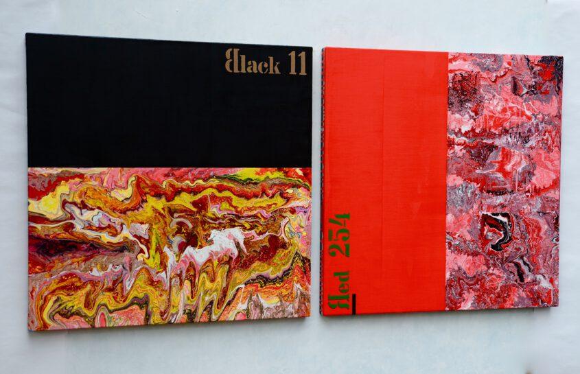 Malerei in rot und schwarz