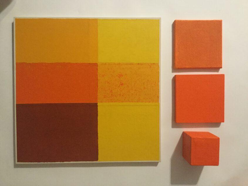 Peinture du champ de couleur en jaune en rouge