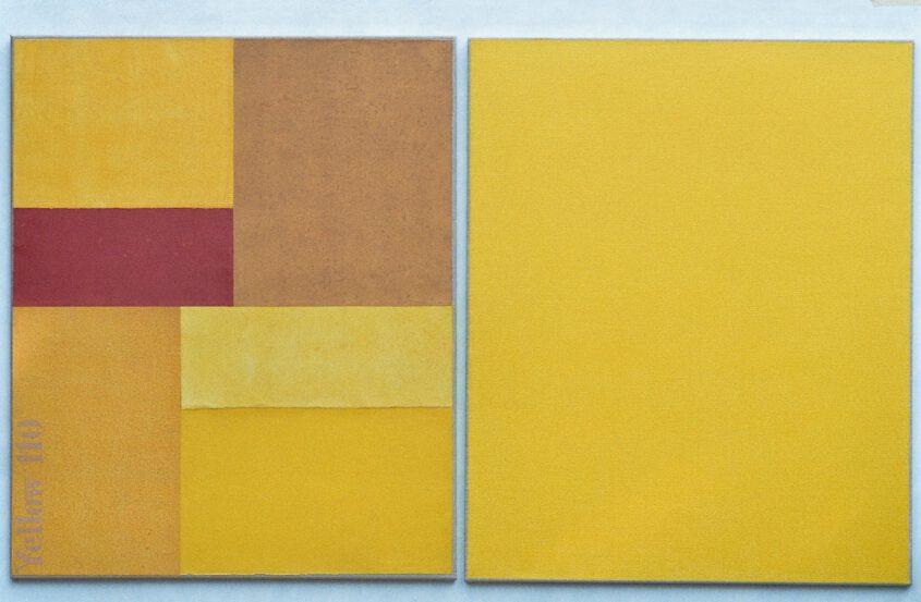 Peinture du champ de couleur en jaune, Color field painting, Farbfeldmalerei in gelb. Thomas Kausels Arbeiten befinden sich we