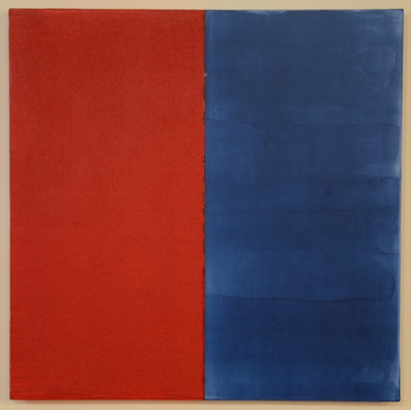 Color field painting red and blue